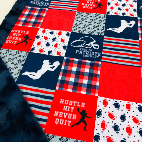 Patriots Football Designer Luxe Minky Blanket