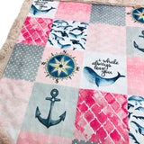 Nautical Whale Designer Luxe Minky Blanket