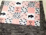 Wild and Free Aztec Buffalo Patchwork Designer Luxe Minky Blanket