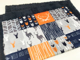 Orange Wild and Free Designer Luxe Minky Blanket