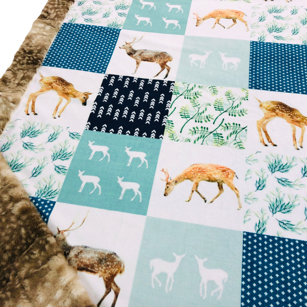 Woodland Blues Designer Luxe Minky Blanket