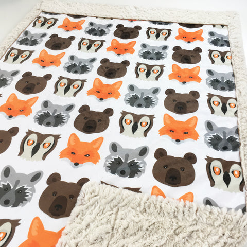Woodland Faces Designer Luxe Minky Blanket