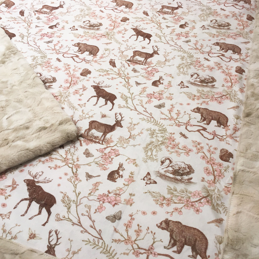 Woodland Spring Toile Designer Luxe Minky Blanket