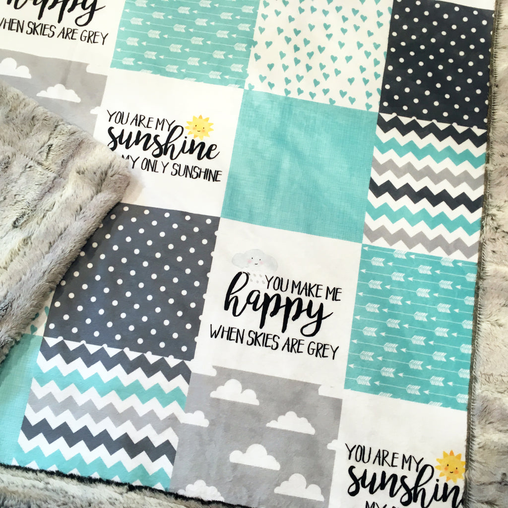 Mint Blue You Are My Sunshine Designer Luxe Minky Blanket