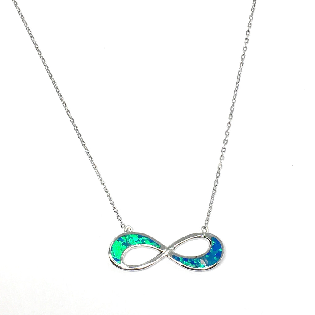 Sterling Silver Blue Opal Infinity Necklace