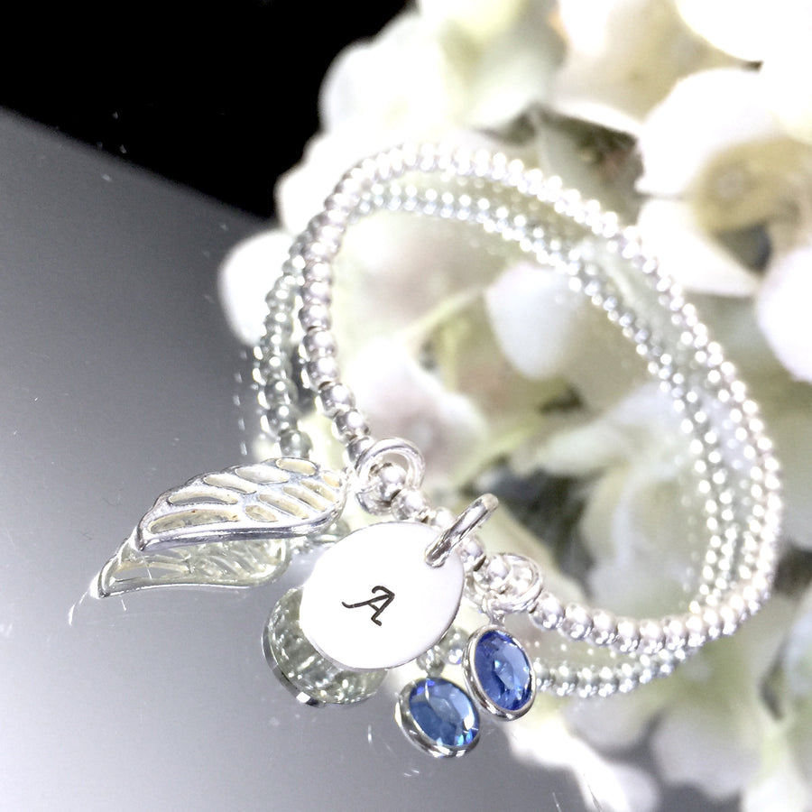 Custom Hand Stamped Angel Wing & Birthstone Stretch Bracelet