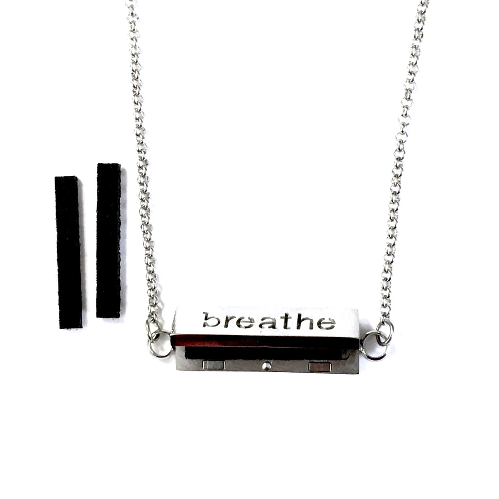 "Stainless Steel ""Breathe"" Oil Diffuser Bar Necklace"