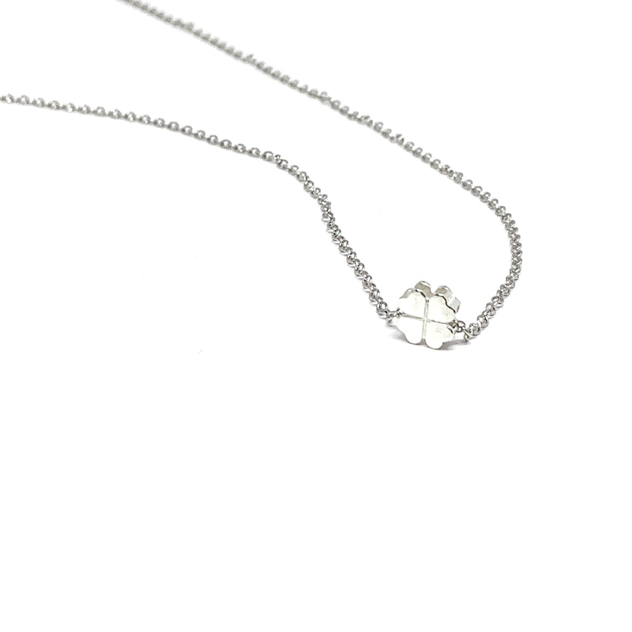 "THE ""LUCKY YOU"" FOUR LEAF CLOVER SILVER NECKLACE"