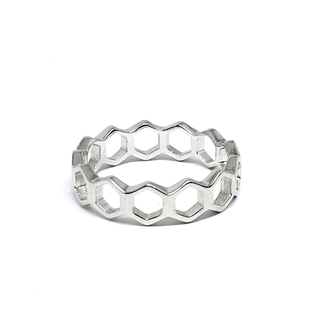 STERLING SILVER HEXAGON RING
