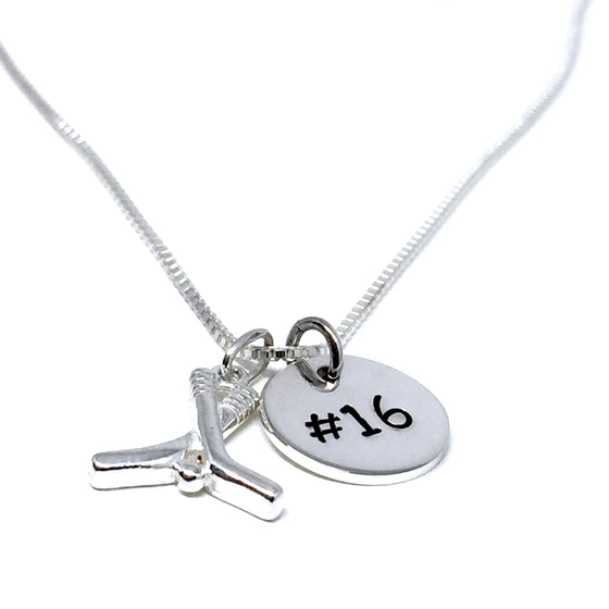 STERLING SILVER HOCKEY CHARM NECKLACE WITH CUSTOM NUMBER TAG