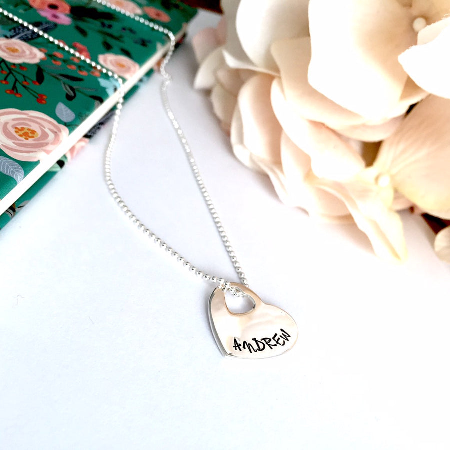 Custom stamped open heart pendant on a ball chain
