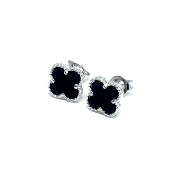 BLACK CLIFF ONYX STERLING SILVER EARRINGS (8mm)