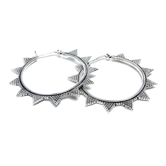 STERLING SILVER BOHO SUNSHINE HOOP EARRINGS