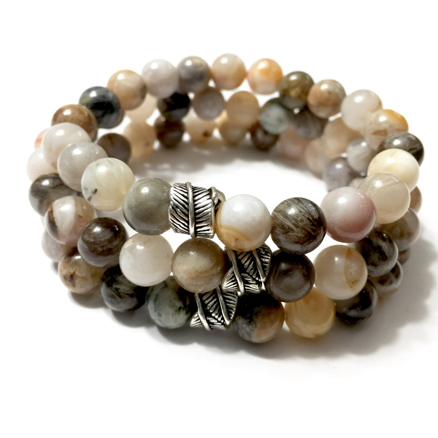 8mm Bamboo Agate and Silver Leaf Charm Bracelet