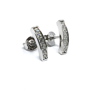 CURVED BAR SILVER & CUBIC ZIRCONIA EARRINGS