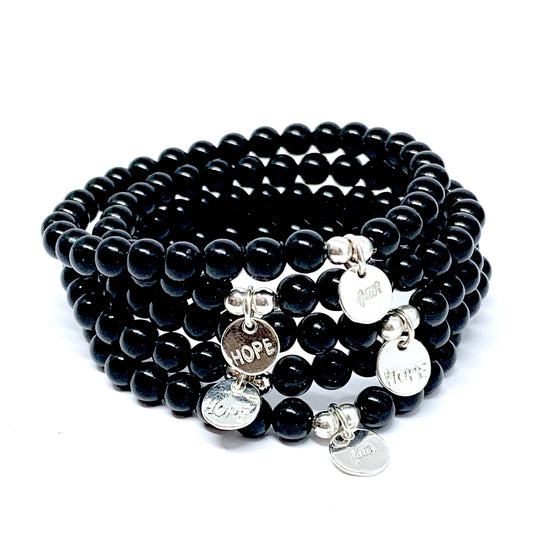 FAITH / HOPE MINI CHARM ONYX & SILVER MALA BRACELET