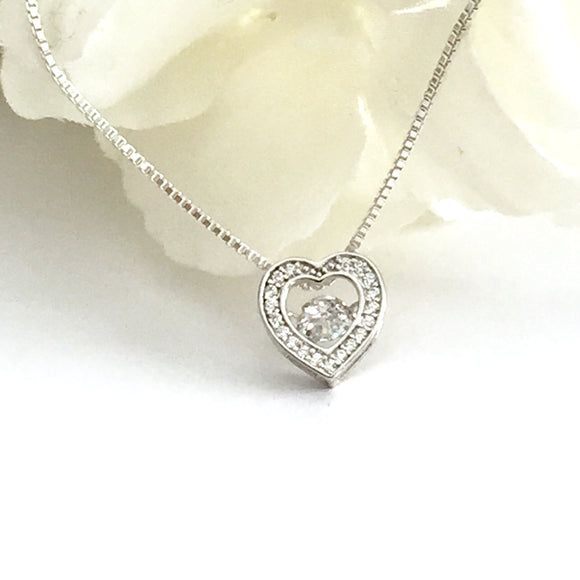 Dancing Diamond Heart Necklace