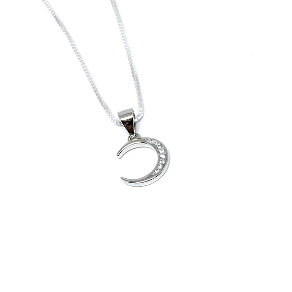 SILVER & CUBIC ZIRCONIA CRESCENT MOON NECKLACE
