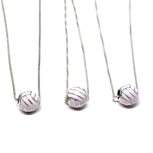 STERLING SILVER PINK VOLLEYBALL NECKLACE