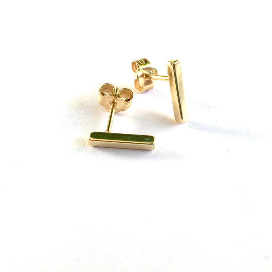 4 SIDED BAR STUD EARRINGS (GOLD)