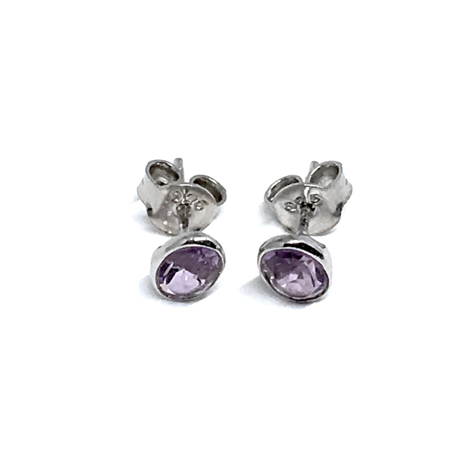 STERLING SILVER NATURAL STONE AMETHYST STUD OVAL EARRINGS