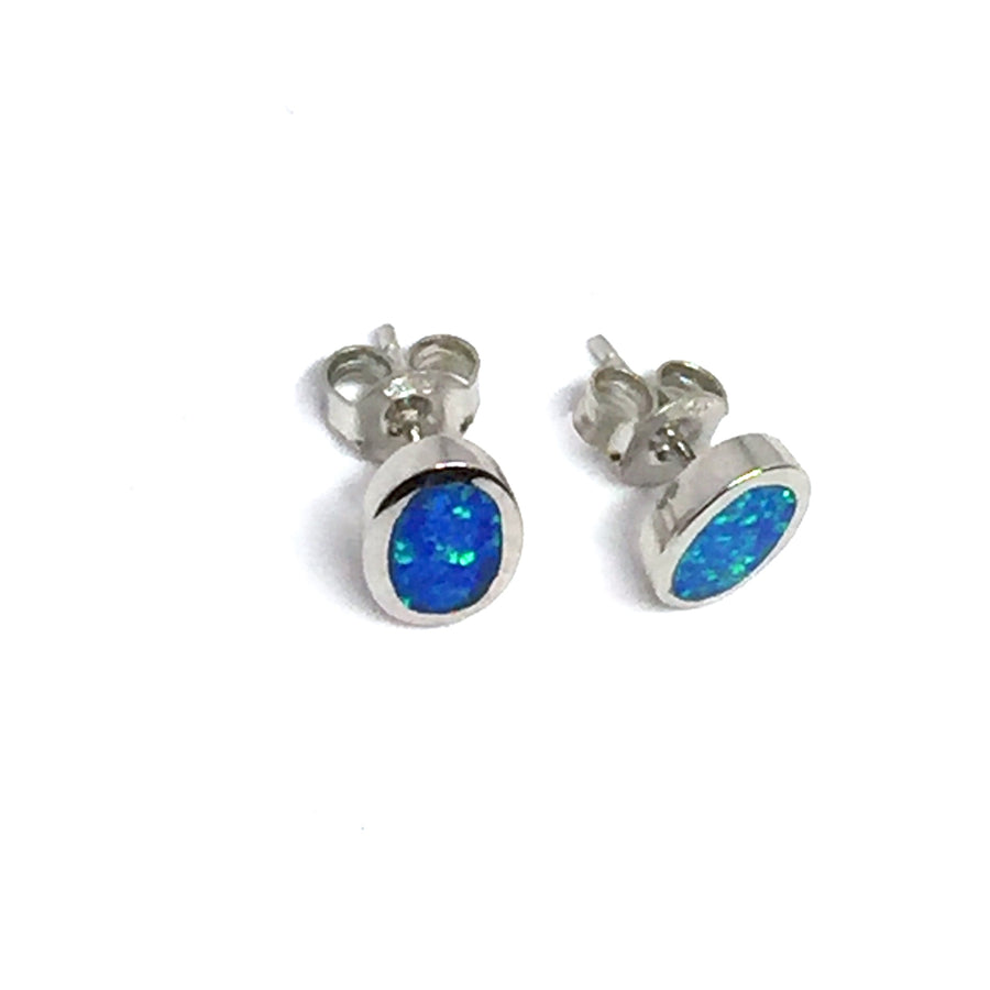 PERUVIAN BLUE OPAL OVAL EARRINGS