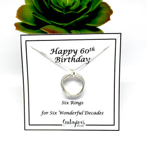 60th Birthday Sterling Silver Six Ring Necklace