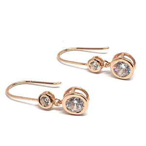 ROSE GOLD OVER STERLING SILVER CUBIC ZIRCONIA DANGLE EARRINGS
