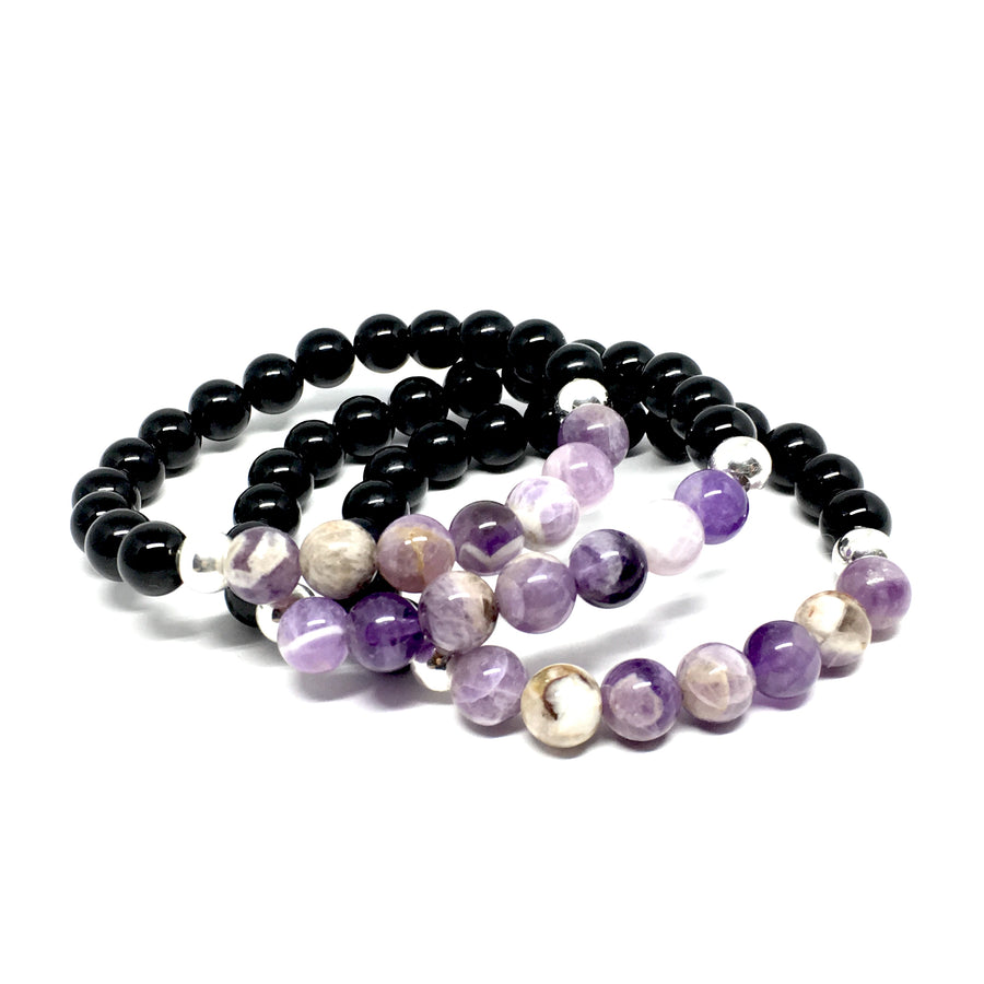 8mm Dog teeth Amethyst, Onyx & Silver Bracelet