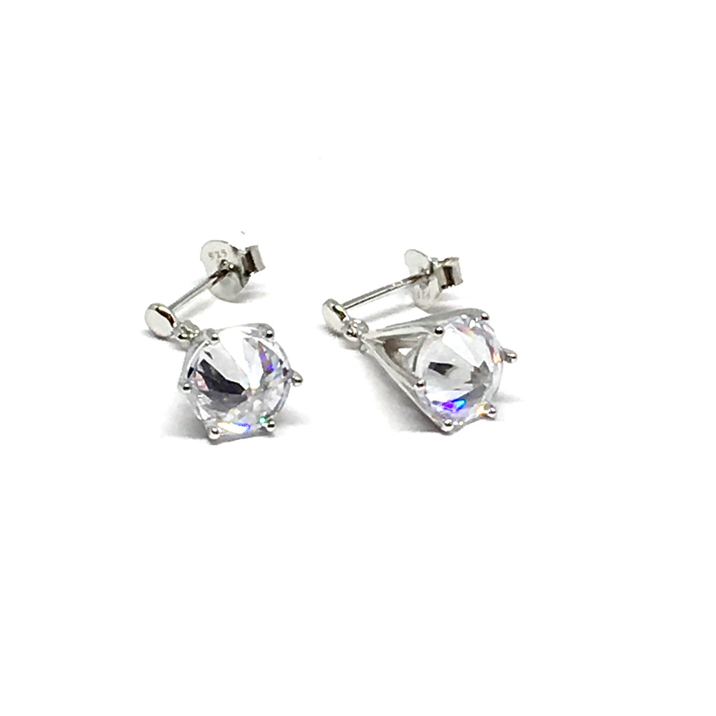 STERLING SILVER FLOATING CUBIC ZIRCONIA EARRINGS