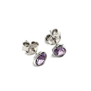 STERLING SILVER NATURAL STONE STUD OVAL EARRINGS