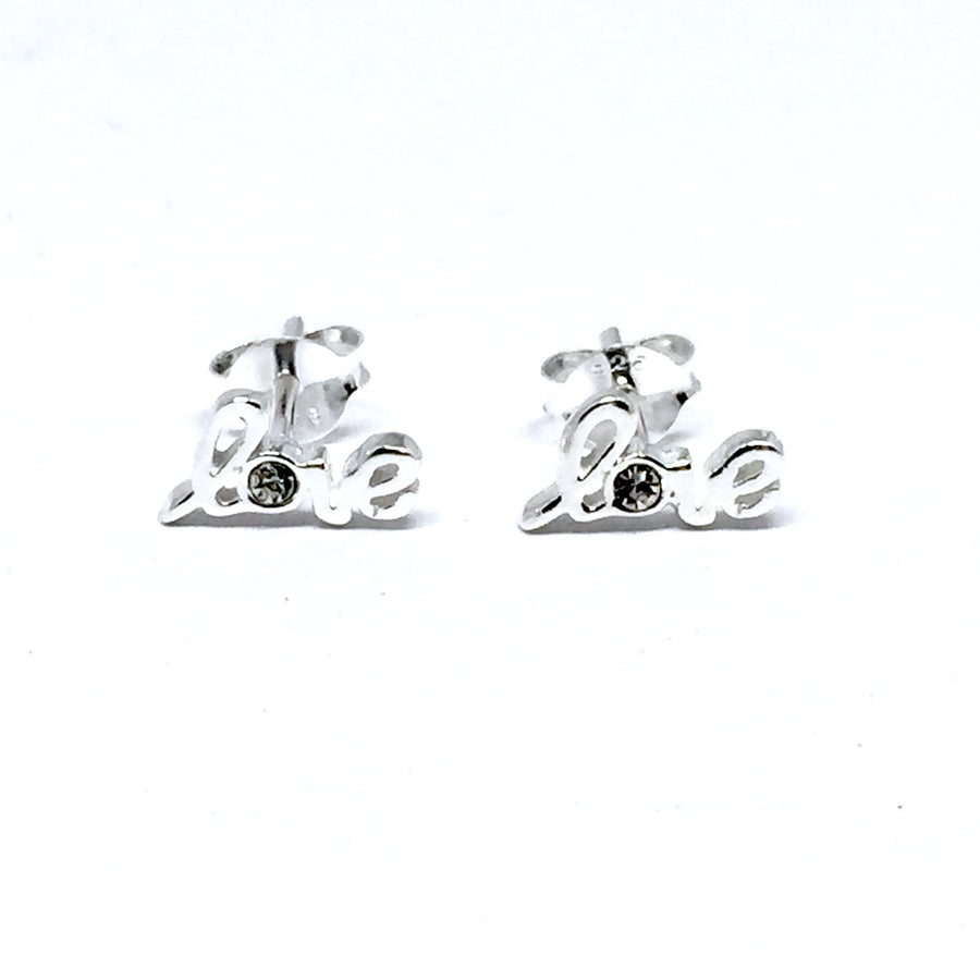 STERLING SILVER & CUBIC ZIRCONIA LOVE EARRINGS