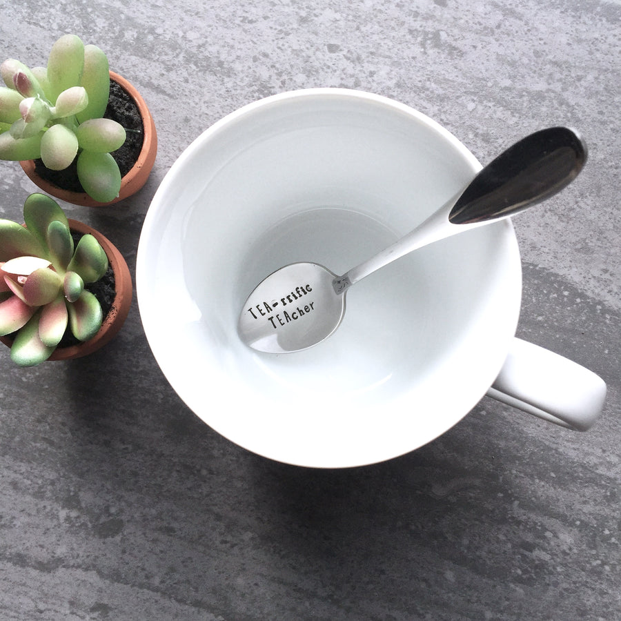 HAND STAMPED TEA-RRIFIC TEACHER SPOON
