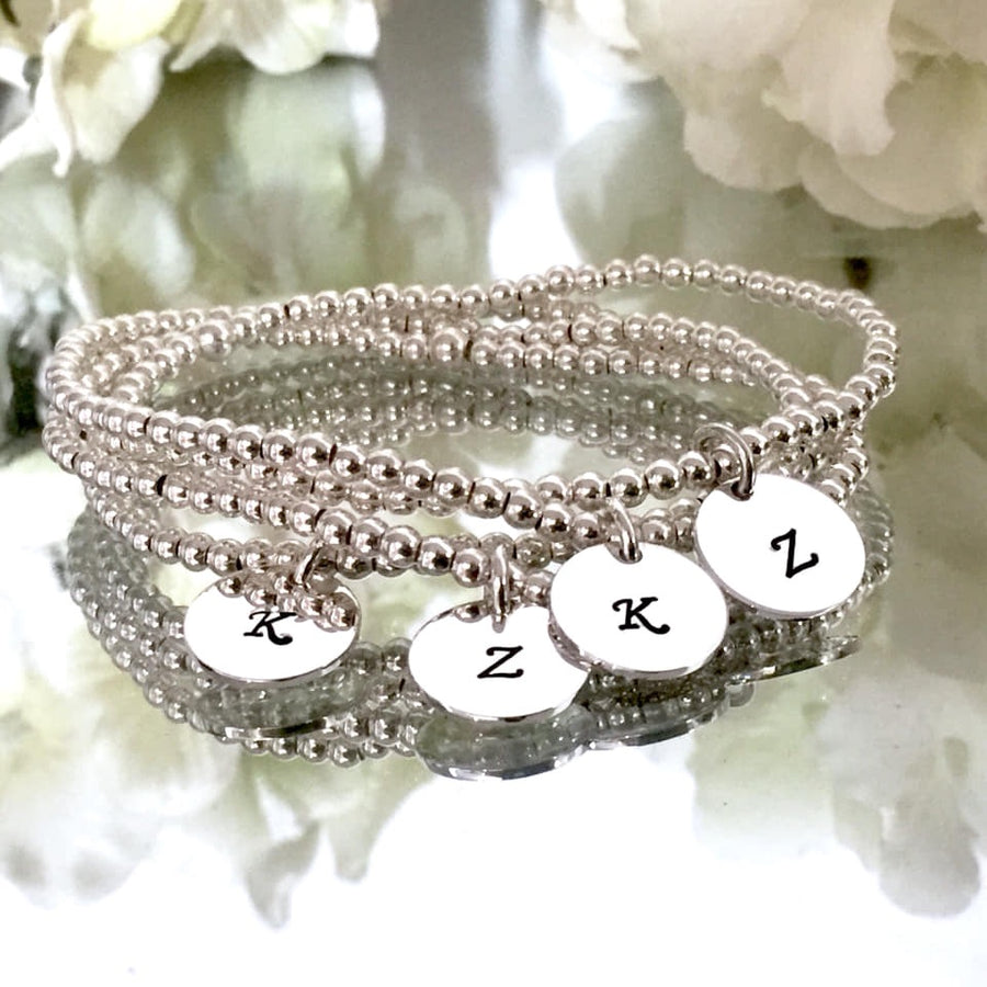 3mm Silver Bracelet with Custom Initial