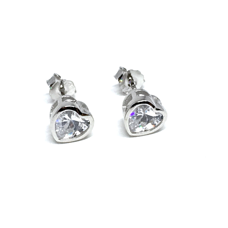 STERLING SILVER & CUBIC ZIRCONIA HEART EARRINGS