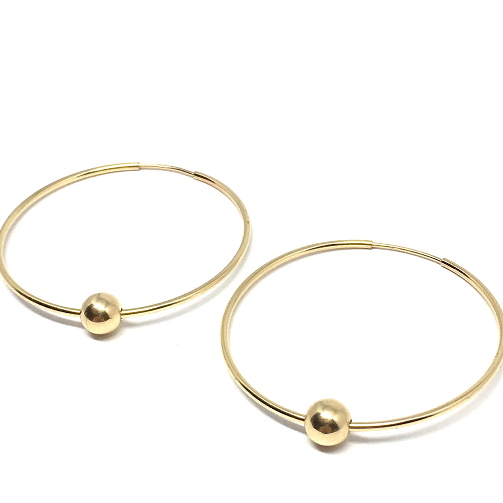 LARGE GOLD FILLED HOOP & BALL EARRINGS
