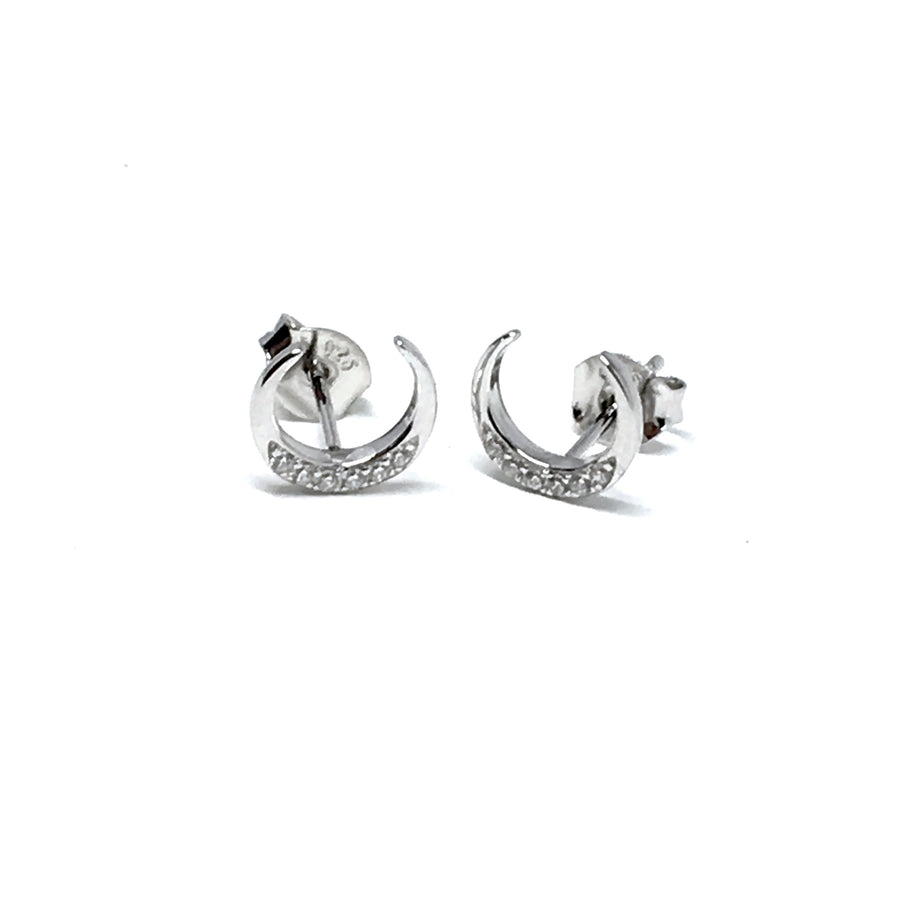 STERLING SILVER & CUBIC GOODNIGHT MOON EARRINGS