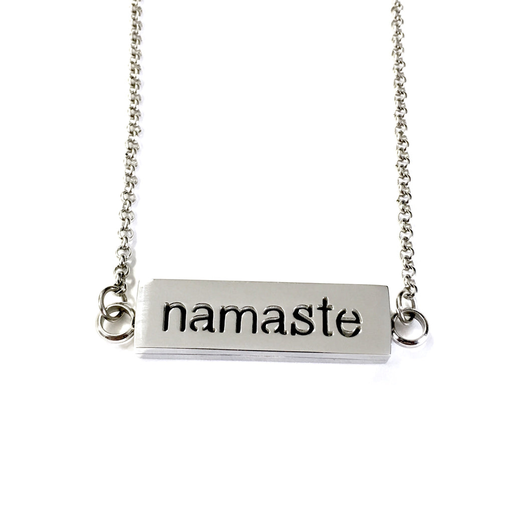 "Stainless Steel ""Namaste"" Oil Diffuser Bar Necklace"