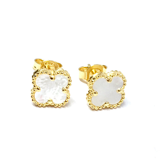 GOLD CLIFF PEARL EARRINGS (8mm)