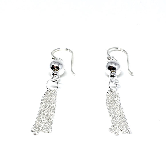 STERLING SILVER BEAD & TASSEL EARRINGS