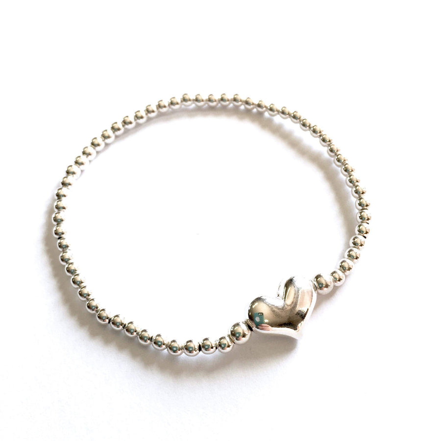3mm Sterling Silver Puffed Heart Bracelet
