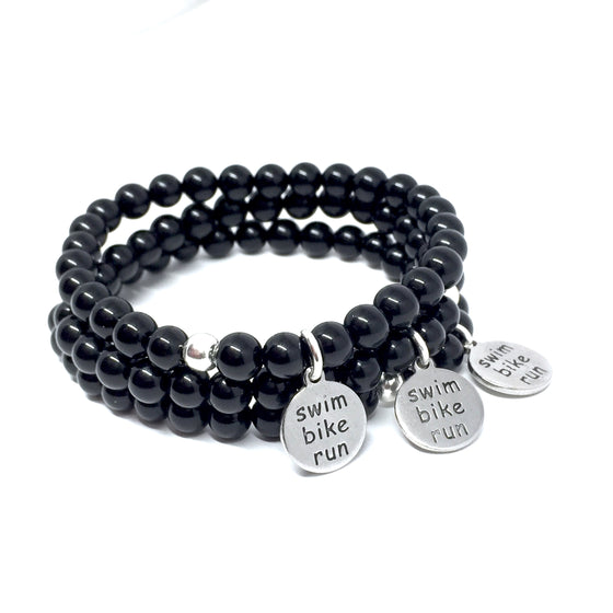 "THE ""TRIATHLON"" ONYX MALA BRACELET"