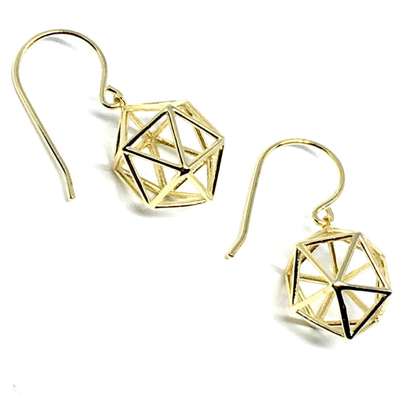 GOLD OVER STERLING SILVER GEOMETRIC EARRINGS