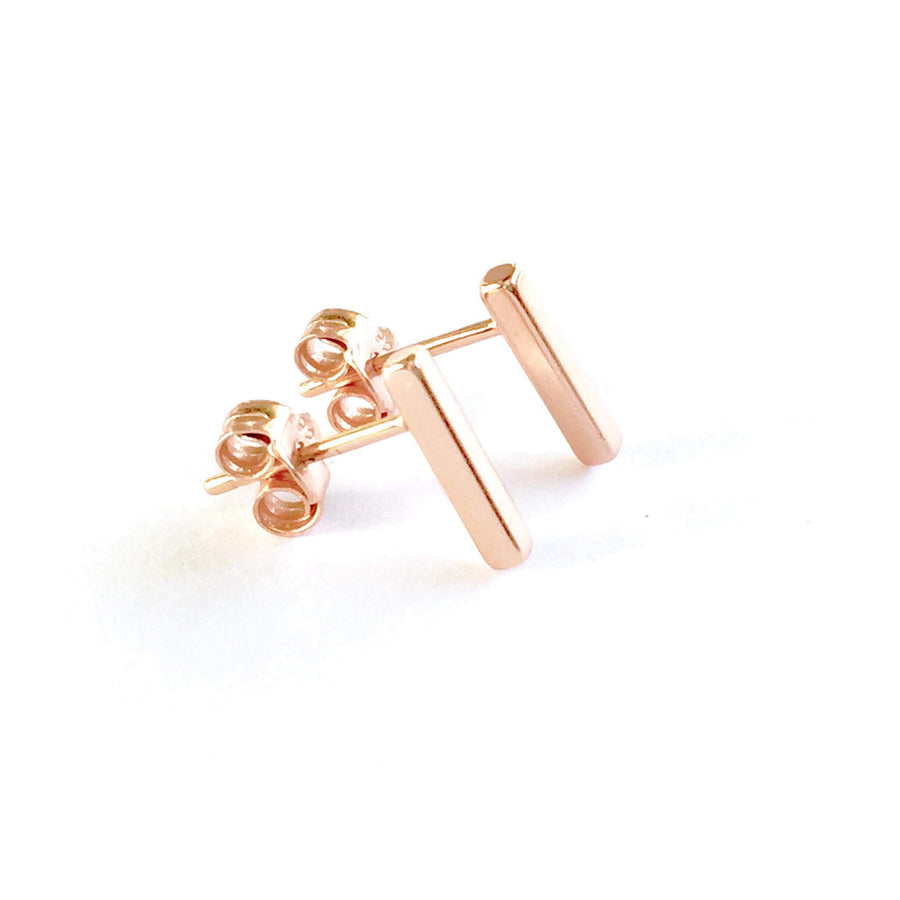 4 SIDED BAR STUD EARRINGS (ROSE GOLD)