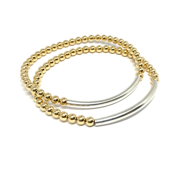 "THE ""UPTOWN"" STERLING SILVER & GOLD BRACELET"