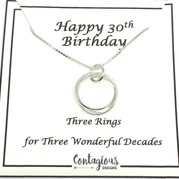 30th Birthday Sterling Silver Three Ring Necklace
