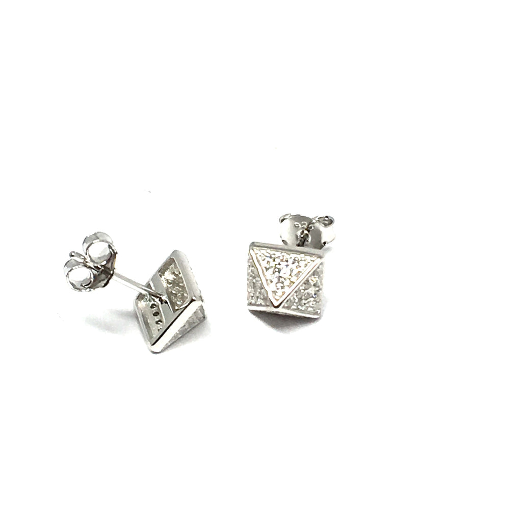 STERLING SILVER & CUBIC ZIRCONIA PYRAMID EARRINGS