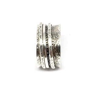 THE PAISLEY STERLING SILVER MEDITATION / SPIN RING