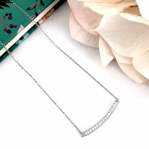 Sterling Silver Curved Bar Cubic Necklace