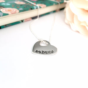 Custom Hand Stamped Open Heart Necklace